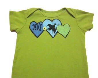 Green Peace Baby Bodysuit - Hearts & Dove Upcycled in Bright Green, Blue and Black - 12 Months 1 Year