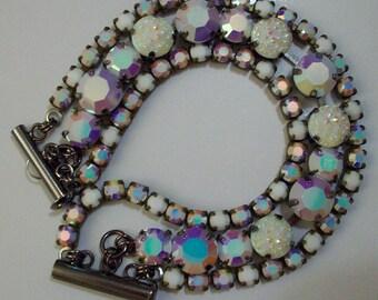 3 Row Swarovski Chalkwhite AB Bracelet White Bridal Bracelet Iridescent White Bracelet White Wedding Jewelry Iridescent White Bride Bracelet