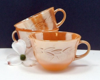 Sale Coffee Tea Cups Fire King Laurel Peach Lustre Anchor Hocking Lusterware Vintage 1950s