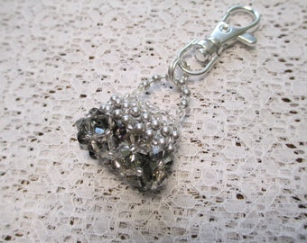 Purse Charm or Zipper Pull in Shades of Grey