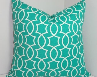 OUTDOOR Turquoise Green Peacock Geometric Pillow Cushion Covers Porch Pillows 18x18