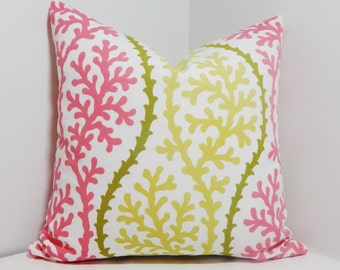 OUTDOOR Pink Citrine & Green Coral Pillow Cover Nautical Indoor/Outdoor Size 18x18