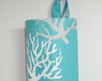 Plastic Bag Holder Grocery Bag Storage Kitchen Bag Storage Blue Coral