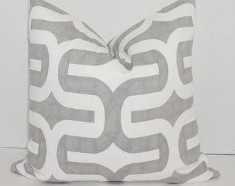 Grey & White Geometric Print Pillow Cover Decorative Throw Pillow Cover  All Sizes