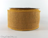 "CLEARANCE!! Burlap Wired Ribbon 2 1/2"" Russet Brown Natural Jute, ONE and 1/2 YARDS  - Offray Craft Ribbon #266"