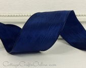 "Wired Ribbon, 1 1/2"" wide, Navy Blue Taffeta - TWENTY SEVEN YARD Roll - ""Lyon"" Wedding Ribbon,  Floral, Craft Wired Edge Ribbon"