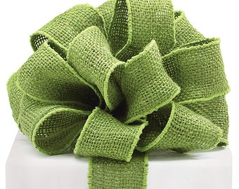 """SALE!! Burlap Wired Ribbon, 2"""" wide, Green Natural Jute - TEN YARDS -  Rustic Christmas, St Patricks, Easter Craft  Wire Edged Ribbon"""