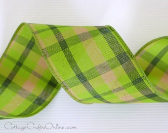 """Plaid Wired Ribbon 2 1/2"""" Lime Green, Tan, Forest Green - THREE YARDS - """"Color Chic"""", Spring, Summer, Fall, Check Craft Wire Edged Ribbon"""