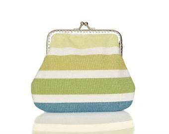 Fabric Coin Purse - Framed Clutch Purse - Pastel Stripes - Silver Frame - Large coin purse - Green Purse
