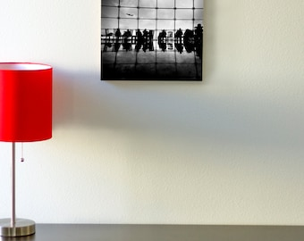 Bamboo, block, wall, art, living room, black and white, red airplane, windows, art, print, eco, wood, people, sky, seatac, seattle, fly, man