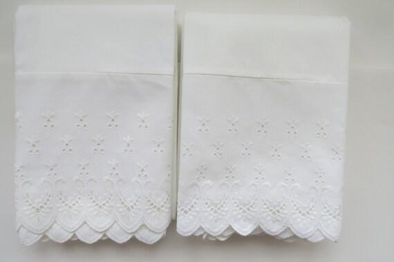 Vintage White Eyelet Pillowcases By Wamsutta Set Of 2