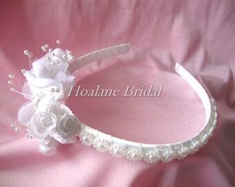 Flower girl headband, pearl/silk flower headband