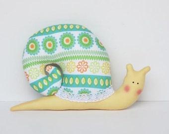 Stuffed snail softie toy - plush snail green yellow soft handmade toy for children boy and girl nursery decor baby shower gift