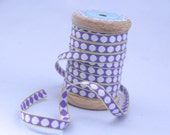 Woven Ribbon violet with white dots, 1 cm width, 2 Meters (2.18 yard)