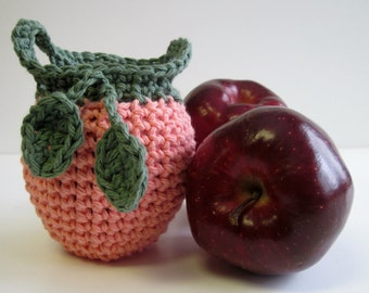 Crochet Apple Cozy Cozies for Fruit  - Peach with Sage Green Leaves