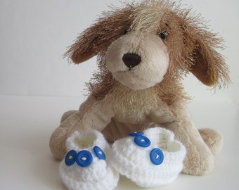 Crochet Baby Booties - White with 3 Small Blue Buttons - Newborn