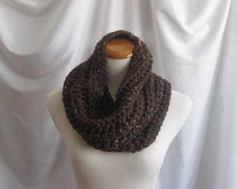 Cowl Chunky Bulky Crochet Cowl:  Brown with Beige Tan Flecks