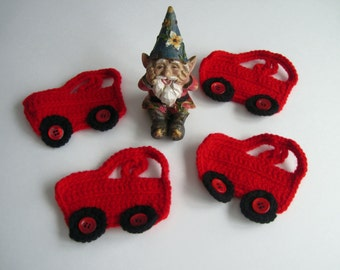 4 Car Appliques - Crochet - Red - Set of 4
