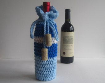 Crochet Wine Bottle Cover Cozy Gift Wrap - Blue and White with Cork Tassels