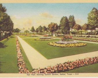 Dallas, Texas, Fair Park, Sunken Garden - Linen Postcard - Unused (LL)