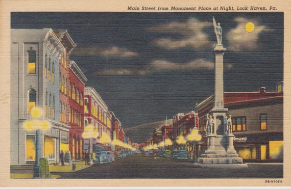 Lock Haven (PA) United States  city images : Main Street, Monument Place, Lock Haven, Pennsylvania Linen Postcard ...
