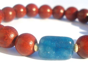 kyanite & rosewood mala bracelet