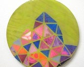 "Green Geometric Triangle Collage, 5.75"" x 5.75"", circle painting"