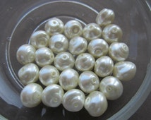 8mm Czech Pearl White Snailshell Pearls 25Pcs.