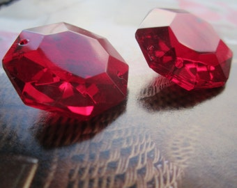 Vintage 1950's Octagonal Ruby Glass Chandelier Drop 1Pc.