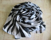 Women's Scarf - Oblong - Black and White Fashion Scarf - Animal Print Scarf - Zebra Scarf - Gifts under 10 - Gifts for Women - Scarf