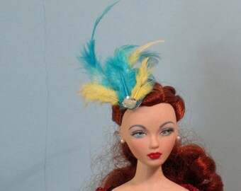 Turquoise fascinator for 16 inch fashion dolls like Gene, Ellowyne, BJDs