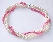 pink pearl necklace - baby pink & ivory white freshwater pearls three strand necklace