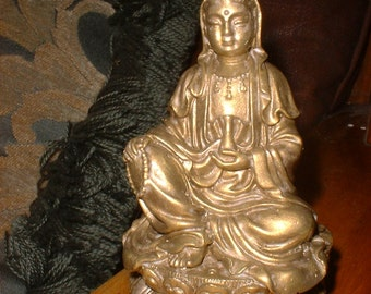 Delicately Detailed Quan Yin Statue in Burnished GOLD Finish a Travel Buddha