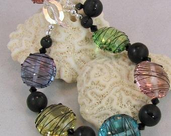 Art Deco Lampwork Bead Bracelet