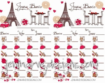 Paris Bunco Score Cards