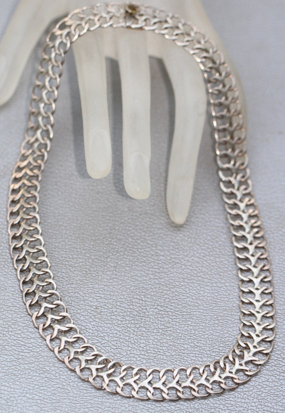 Vintage  Mexican Sterling Silver Wide Chain Chocker Necklace