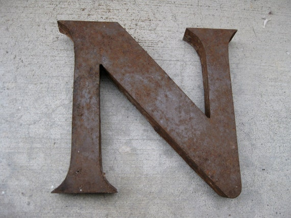 Antique n metal letter wall or garden decor industrial by for Letter n decorations