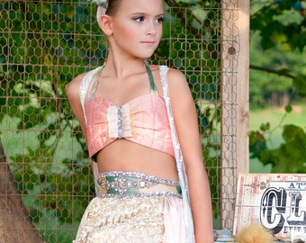 Vintage Circus Costume, Featured in Child Model Magazine, Genie Costume, Child's Halloween Costume, Unique Girl's Costume