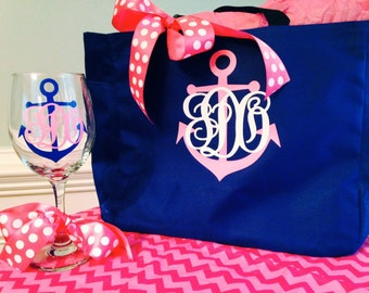Set of 5 Anchor Nautical Monogrammed Totes and 5 Wine Glasses