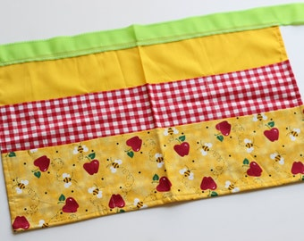 Classroom Apron- Apples and Bees (red & yellow)