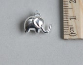 Sterling Silver Elephant, Silver Elephant Charm, Double side elephant Charm, Silver Baby Elephant Charm, Animal Charm, 15 x 10mm ( 1 piece )