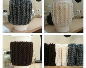 Set of 3 Hand Crochet Coffee Cup Holder/ Warmer/Sleeve/Cozy