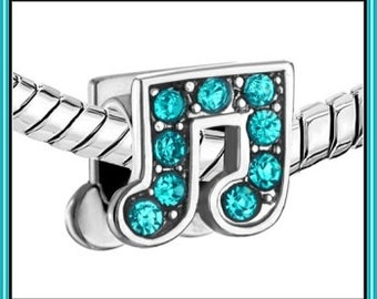 MUSiC NoTE (Beamed) - MUSiCAL - BLUE Crystals - CZ - Authentic -  Excellent Quality - S P Charm Bead - fit European Bracelets - PUG-C-4218