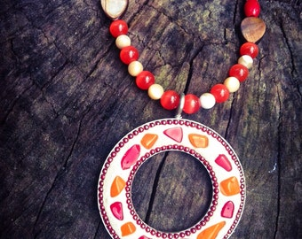 Orange and Red Shell Pendant, Mosaic Style with Mother of Pearl Beads