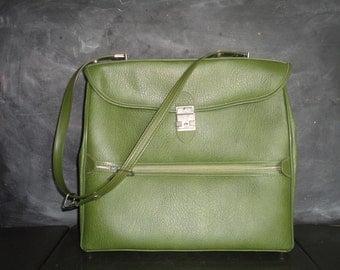 Vintage Avocado Green Carry On Messenger Tote Shoulder Bag-Satchel Bag-Ventura Luggage