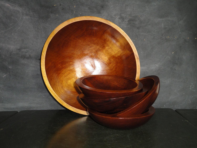 Vintage wooden baribocraft salad bowl set wood tableware mid