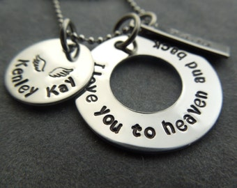 Personalized mothers necklace hand stamped stainless steel I love you to heaven and back
