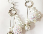 Earrngs, Pearl Dangle and Silver, Bridal Jewelry, Pearls For Bride, Prom Jewelry, Prom Earrings, Bride Earrings, Bridal Supply by CindyDidit