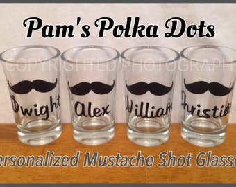 4-Piece Set Personalized MUSTACHE SHOT GLASSES with Name or Word great wedding groomsman bachelor party graduation birthday anytime gift