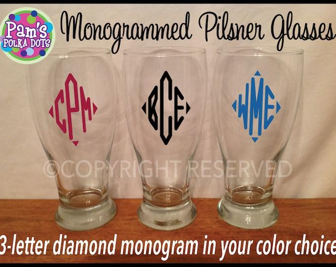 Personalized Diamond Shape MONOGRAMMED PILSNER GLASS for Groom Groomsman Groomsmen Best Man Bridesmaid Bride Bridal Party